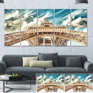 Designart 'Eiffel Tower Under Blue Sky' Photography Canvas Art Print