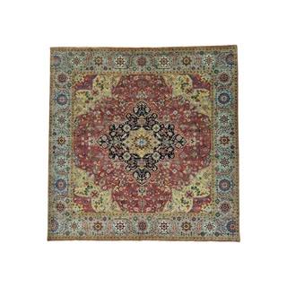 Square Antiqued Serapi Heriz Recreation Handmade Rug (9'9 x 9'10)