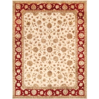 Pasargad Agra Hand-knotted Ivory and Red Silk and Wool Rug (9' x 12')