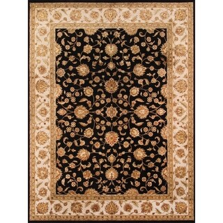 Pasargad Agra Hand-knotted Black and Ivory Silk and Wool Rug (9' x 12')