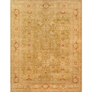 Pasargad Sultanabad Hand-knotted Light Green and Camel Wool Rug (9' x 12')