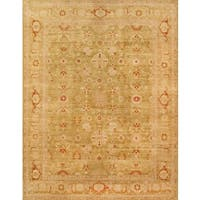 Pasargad Sultanabad Hand-knotted Light Green and Camel Wool Rug (9' x 12') - 9 x 12