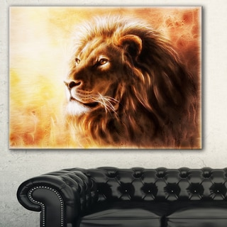 Designart - Brown Lion Fractal - Digital Art Animal Canvas Print