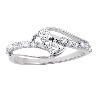 Beverly Hills Charm 14K White Gold 2/5ct TDW Diamond 2-Stone Anniversary Ring (H-I, SI2-I1)