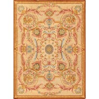 Pasargad Savonnerie Hand-knotted Ivory Wool Rug (10' x 14') - 10' x 14'