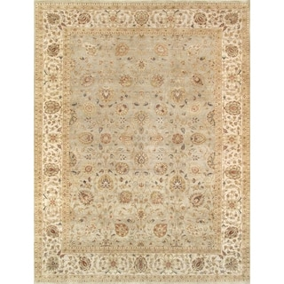 Pasargad Tabriz Hand-knotted Green Wool Rug (9' x 12')