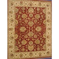 Pasargad Agra Hand-knotted Red and Ivory Wool Rug (10' x 14') - 10' x 14'