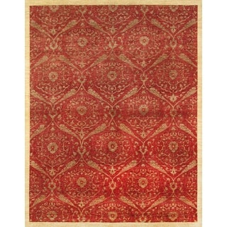 Pasargad Modern Hand-knotted Red Wool Rug (9' x 12')