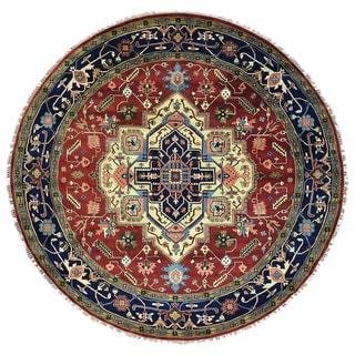 Round Serapi Heriz Pure Wool Hand Knotted Oriental Rug (11'10 x 11'10)