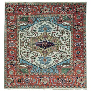 Pure Wool Serapi Heriz Hand Knotted Square Oriental Rug (9'10 x 10'1)