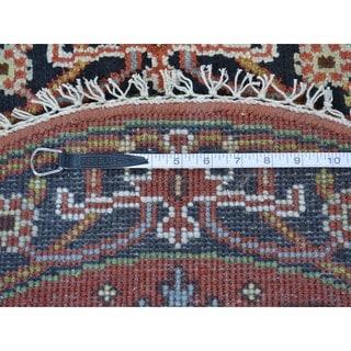 Round Hand Knotted Serapi Heriz Pure Wool Oriental Rug (3' x 3')