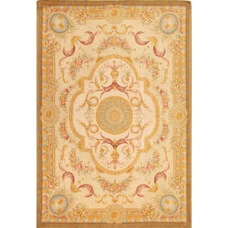 Pasargad Savonnerie Hand-knotted Ivory and Yellow Wool Rug (10' x 14')