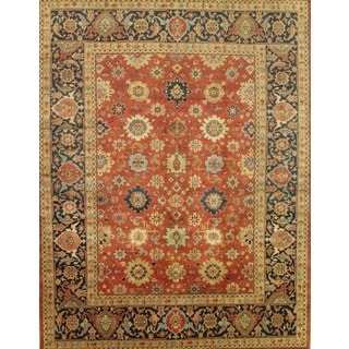 Pasargad Mahal Hand-knotted Rust and Navy Wool Rug (9' x 12')