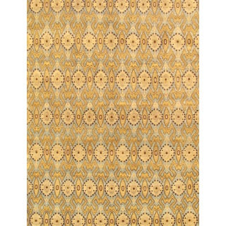 Pasargad Ikat Hand-knotted Light Blue and Gold Wool Rug (10' x 14')