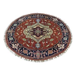 Serapi Heriz Pure Wool Round Oriental Hand Knotted Rug (3'9 x 3'10)