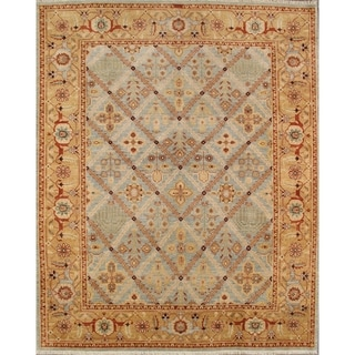 Pasargad Bakhshayesh Hand-knotted Light Blue and Gold Wool Rug (10' x 14')