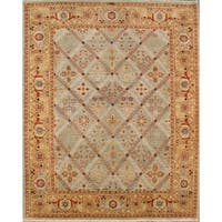 Pasargad Bakhshayesh Hand-knotted Light Blue and Gold Wool Rug (10' x 14') - 10' x 14'