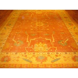 Pasargad Oushak Hand-knotted Orange and Gold Wool Rug (10' x 14')