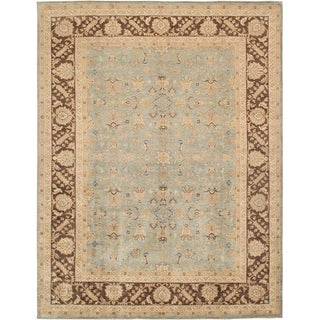 Pasargad Sultanabad Hand-knotted Light Blue and Brown Wool Rug (9' x 12')