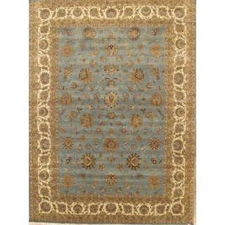 Pasargad Tabriz Hand-knotted Light Blue and Ivory Wool Rug (10' x 14')