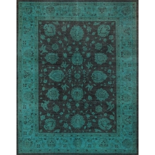 Pasargad Overdye Hand-knotted Brown and Green Wool Rug (9' x 11')