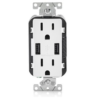 Leviton T5632-W Combo Duplex Receptacle, 15 Amp, 2 Usb Charger (White) with Bonus 3ft USB Extender