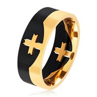 Men's Two Tone Polished Stainless Steel Center Cross Puzzle Ring - 8mm Wide