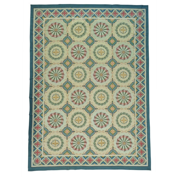 Aubusson Neo Classic Design Flat Weave Hand Knotted Rug - Multi