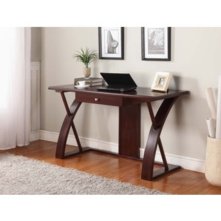 Solid Wood Computer Desk in Dark Brown