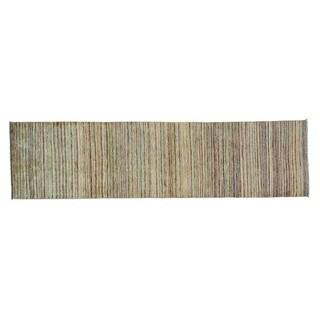 Runner Pure Wool Peshawar Gabbeh Hand Knotted Oriental Rug (2'5 x 9'5)