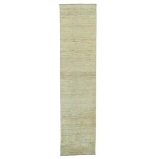 Hand Knotted Peshawar Gabbeh Runner Pure Wool Oriental Rug (2'4 x 9'7)