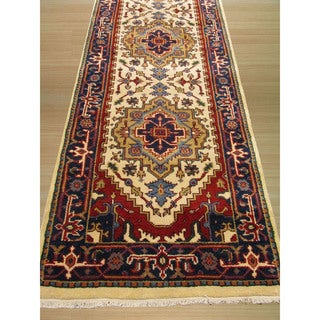EORC Hand Knotted Wool Navy Serapi Rug (2'6 x 12')