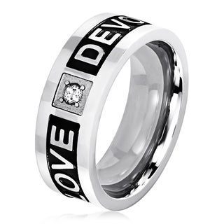 "Men's Two Tone Polished Stainless Steel Cubic Zirconia Engraved ""Love Devotion"" Ring - 6-8mm Wide"