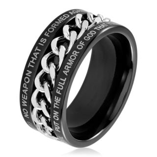 Men's Black Plated Dual Finish Stainless Steel Spinner Chain Bible Verse (Isaiah 54:17) Ring - 10mm Wide