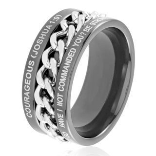 Men's Black Plated Dual Finish Stainless Steel Spinner Chain Bible Verse (Joshua1:9) Ring - 10mm Wide