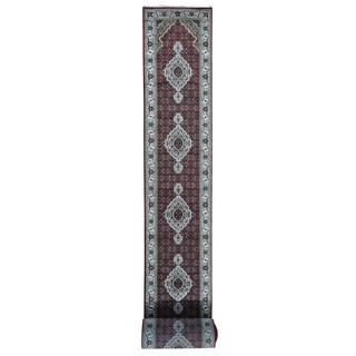 XL Runner Tabriz Mahi Wool and Silk Handmade Oriental Rug (2'7 x 31'4)