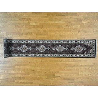 Tabriz Mahi Wool and Silk XL Runner Handmade Oriental Rug (2'6 x 20')