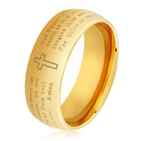 Men's Gold Plated Polished Stainless Steel Domed Lord's Prayer Comfort Fit Ring - 6-8mm Wide