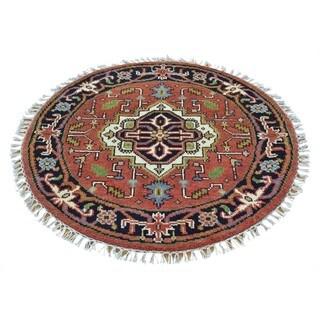 Serapi Heriz 100 Percent Wool Round Handmade Oriental Rug (3' x 3')