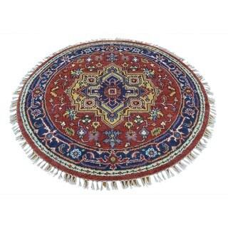 Round Serapi Heriz 100 Percent Wool Handmade Oriental Rug (4'1 x 4'1)