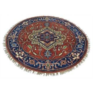 Round Pure Wool Handmade Red Serapi Heriz Oriental Rug (4' x 4')