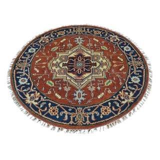 Round Pure Wool Hand Knotted Red Serapi Heriz Oriental Rug (4' x 4')