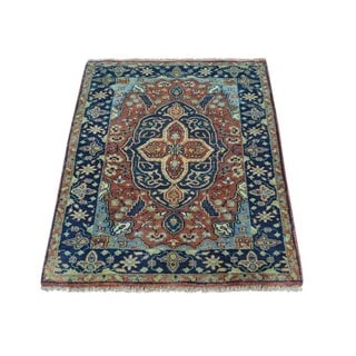 Antiqued Heriz Recreation Pure Wool Handmade Oriental Rug (2'1 x 3'1)