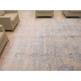 EORC Hand Knotted Wool & Viscose Ivory Erased Rug (9'2 x 11'9)