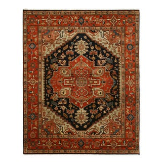 EORC Navy Hand Knotted Wool Serapi Rug (8' x 10')