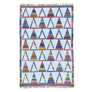 Flat Weave Kilim Hand Woven Cotton and Sari Silk Oriental Rug (4' x 6')