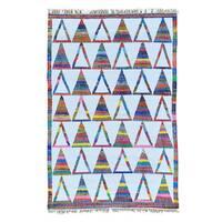 Flat Weave Kilim Hand Woven Cotton and Sari Silk Oriental Rug - Multi