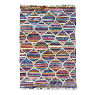 Multicolored Kilim Cotton and Sari Silk Hand Woven Rug (4' x 6')
