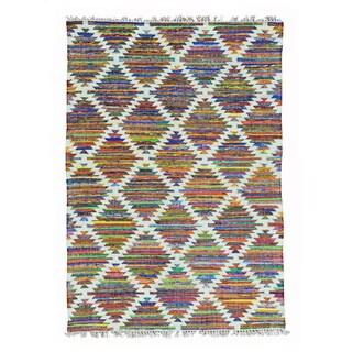 Colorful Hand Woven Flat Weave Kilim Cotton and Sari Silk Rug (5' x 7')