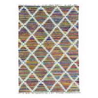 Colorful Hand Woven Flat Weave Kilim Cotton and Sari Silk Rug - Multi